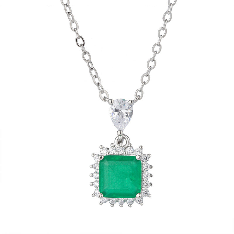 Vintage Square Halo Lab Created Emerald Pendant Necklace