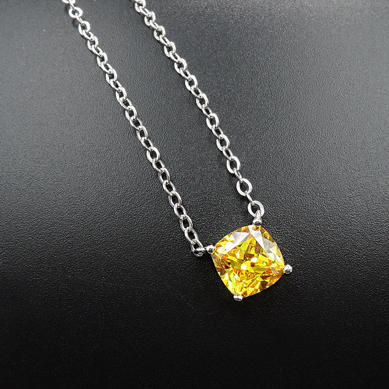 Cushion Cut Yellow Created Diamond Classic Pendant Necklace