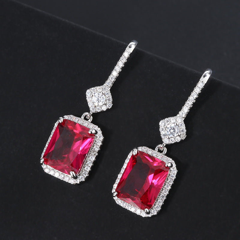 Vintage Halo Radiant Cut Lab Created Ruby Hook Earrings