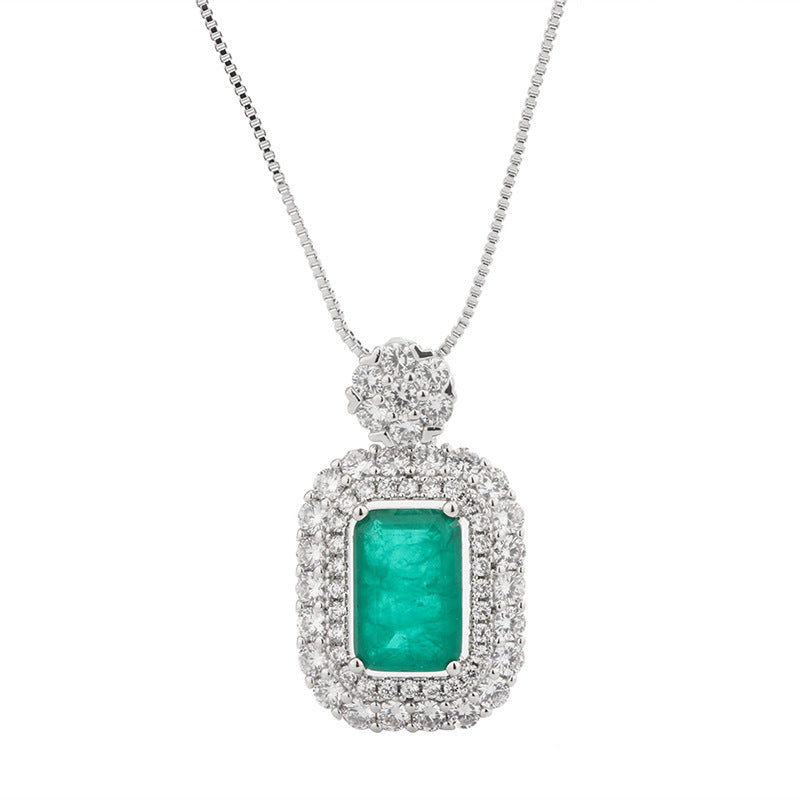 Vintage Lab Created Emerald Pendant Necklace