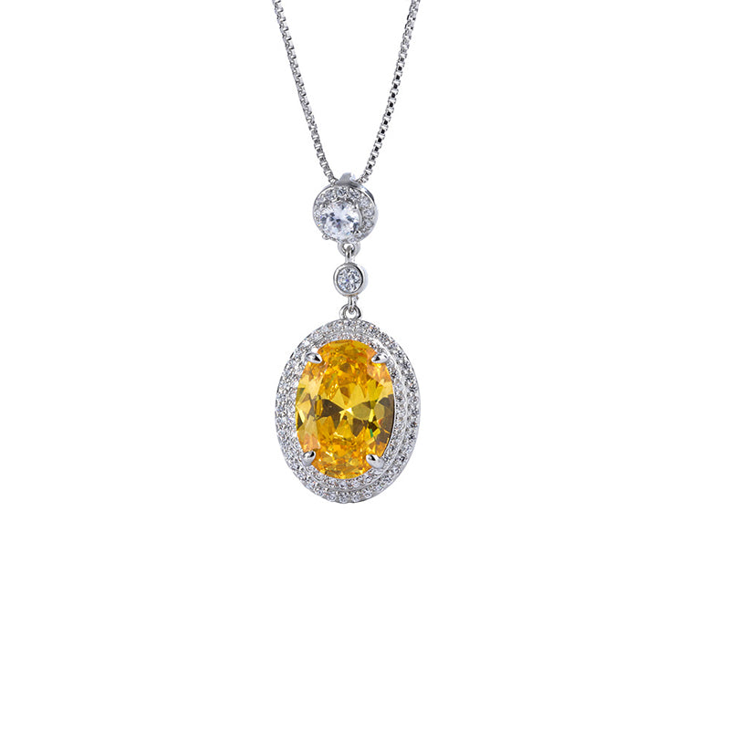 Halo Oval Cut Yellow Created Diamond Pendant Necklace