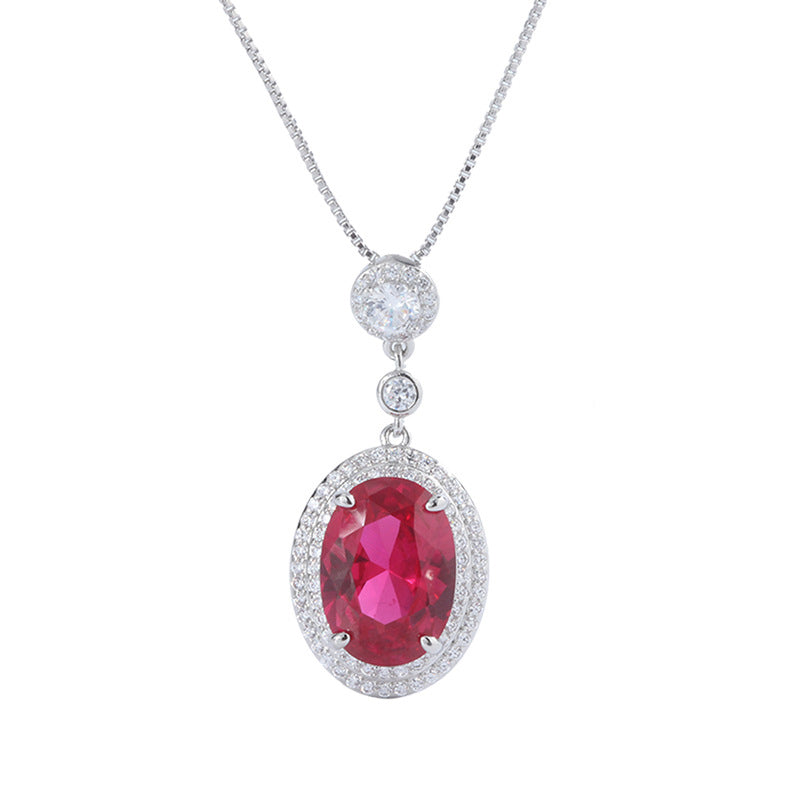 Halo Oval Cut Lab Created Ruby Pendant Necklace with Box Chain 18''