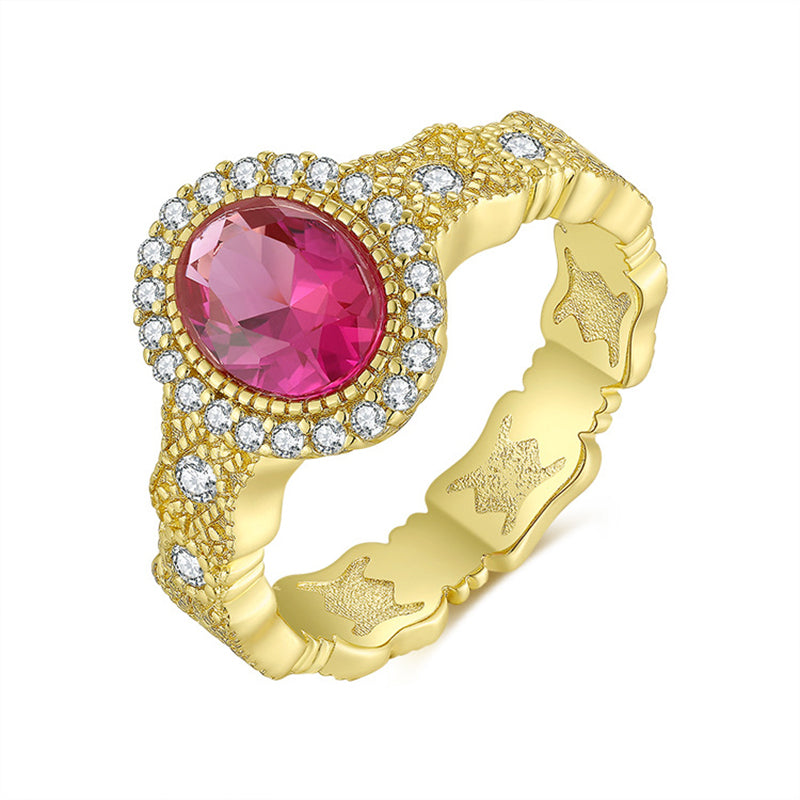 Oval Cut Lab Created Ruby/Lab Created Emerald/Lab Created Sapphire Vintage Ring