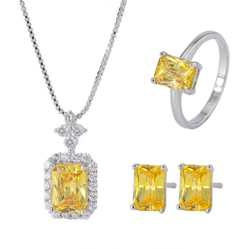 Radiant Cut 5*7mm Yellow Created Diamond Simple Solitaire Earrings