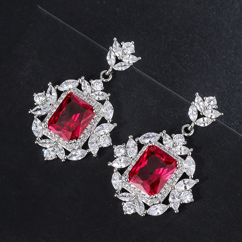Radiant Cut Lab Created Ruby Vintage Earrings