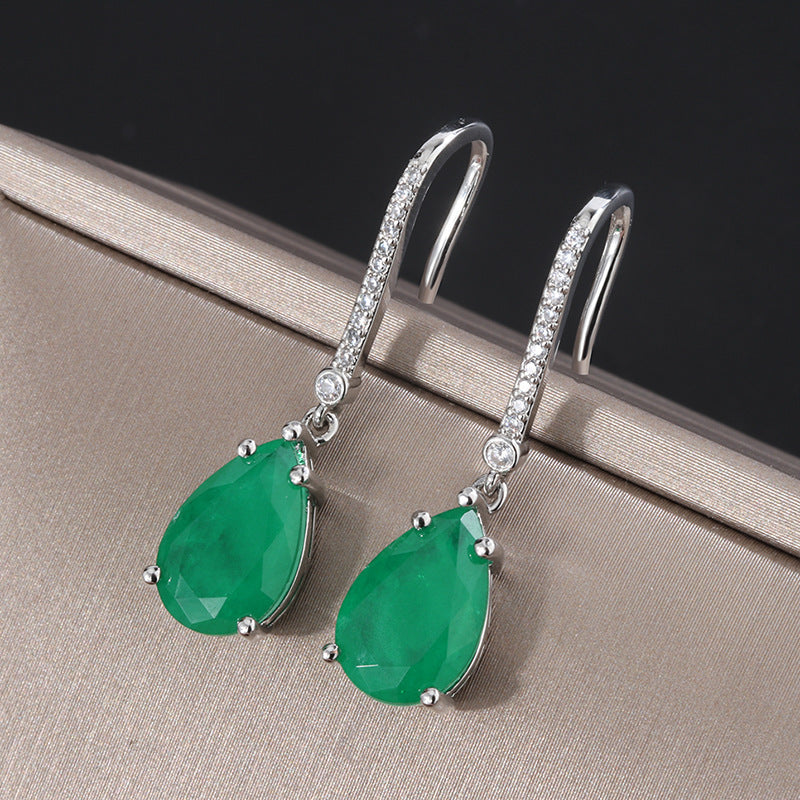 Pear Cut Lab Created Emerald/Ruby Hook Earrings