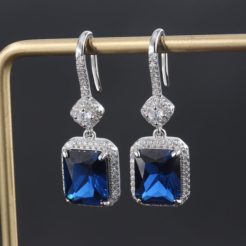Radiant Cut Lab Created Sapphire Hook Earrings