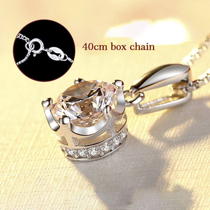 Sterling Silver Created Diamond Fashion Crown Pendant Necklace with Box Chain or Water Wave Chain