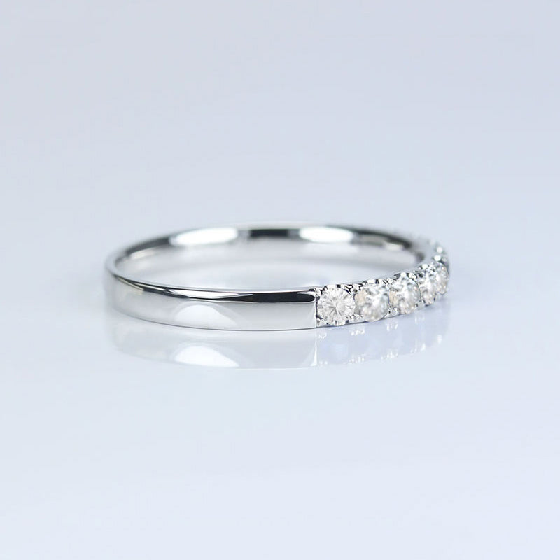 14K/18K Gold 2mm Round Cut Moissanite Diamond Half Eternity Ring
