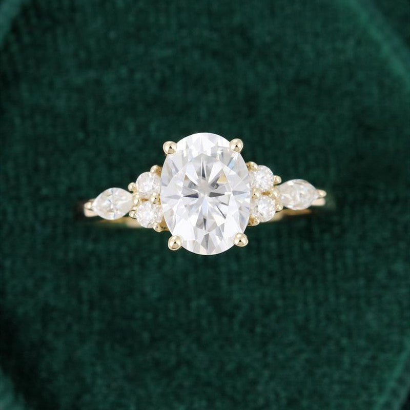 14K/18K Gold 1.5 Carat Oval Cut Moissanite Diamond Classic Ring