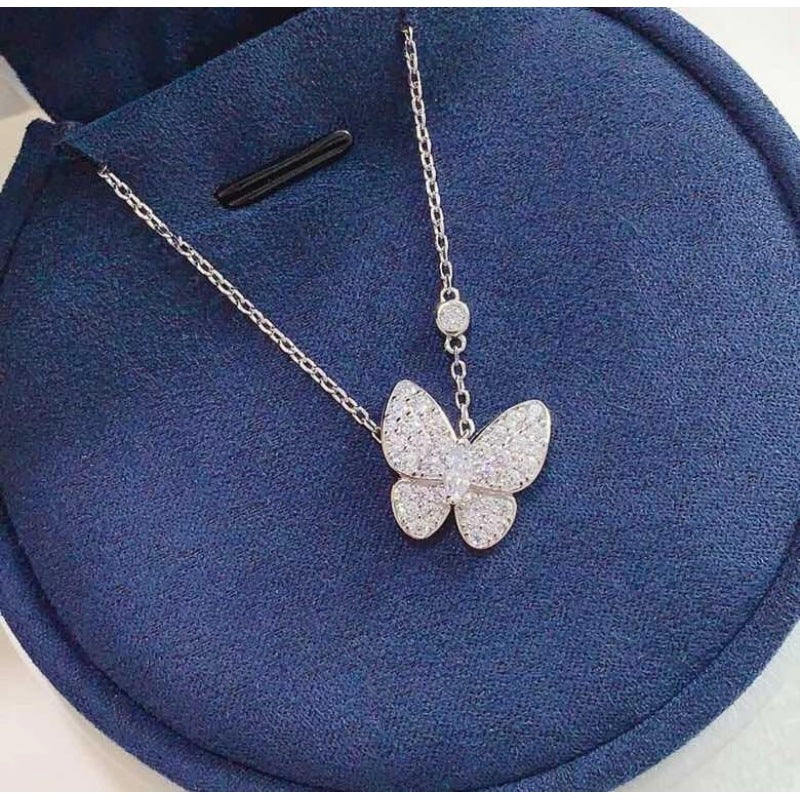 Marquise Cut Created Diamond Fashion Butterfly Pendant Necklace