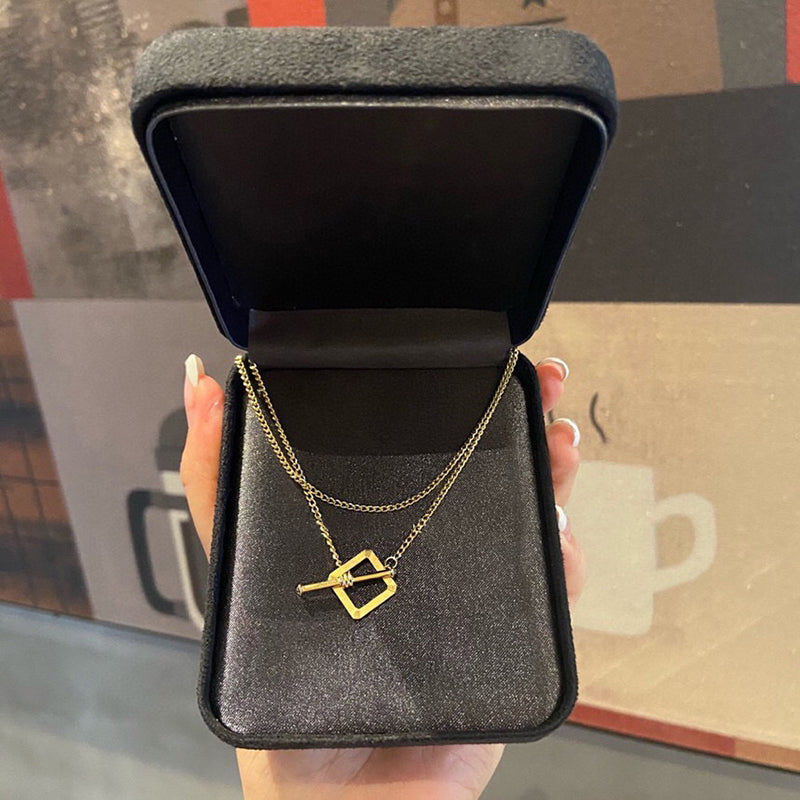 18K Gold Square Geometric Necklace