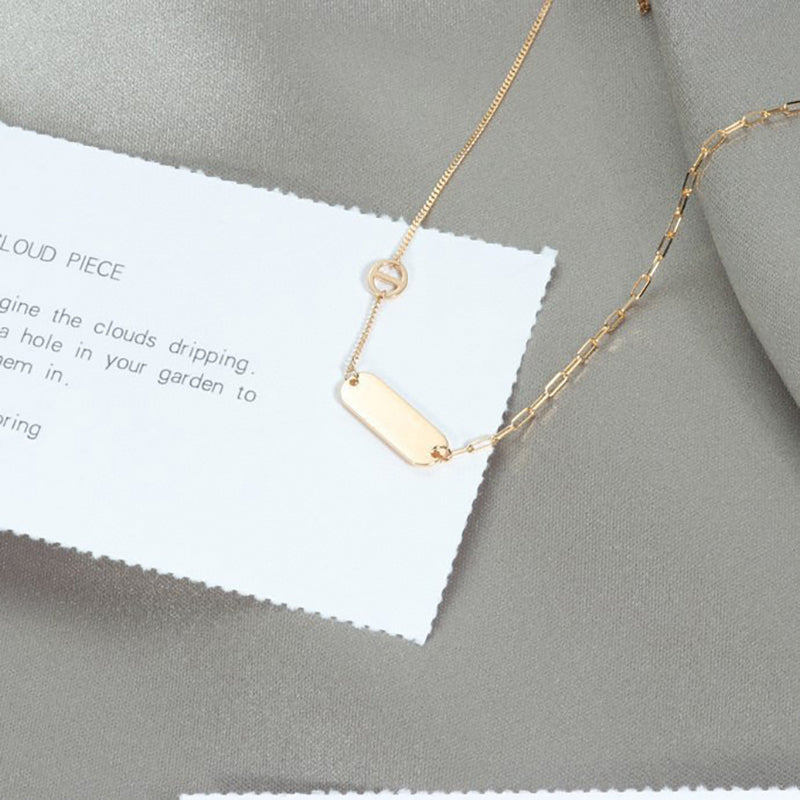 18K Gold Simple Fashion Bar Necklace Clavicle Chain Choker