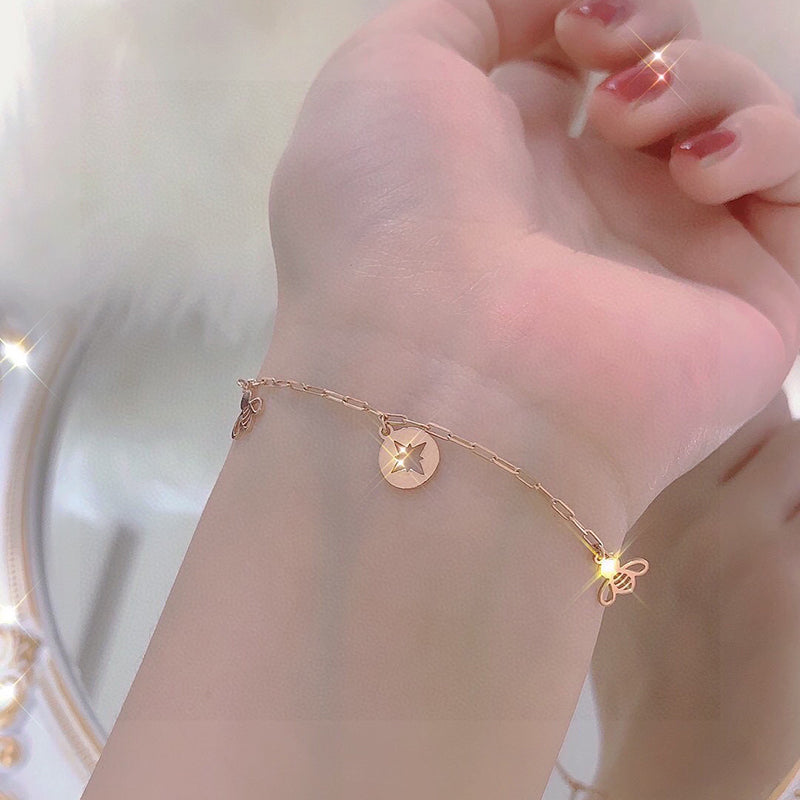 18K Gold Geometric Dangle Bee Link Bracelet