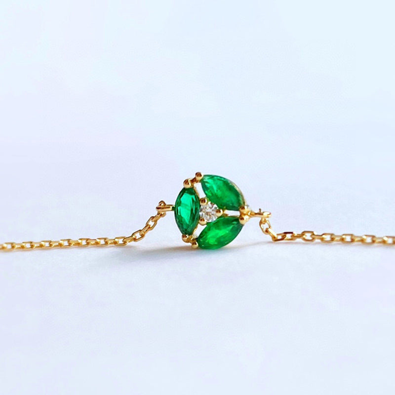 18K Gold Marquise Cut Leaf Design 0.25ct Natural Emerald Vintage Link Chain Bracelet