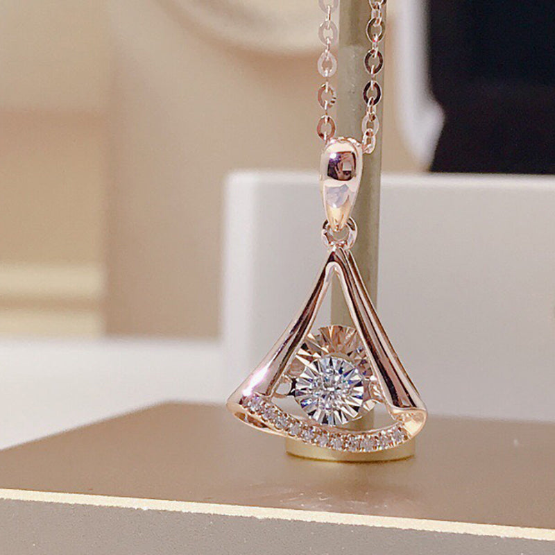18K Gold 0.055ct Natural Diamond Dancing Skirt Pendant Necklace