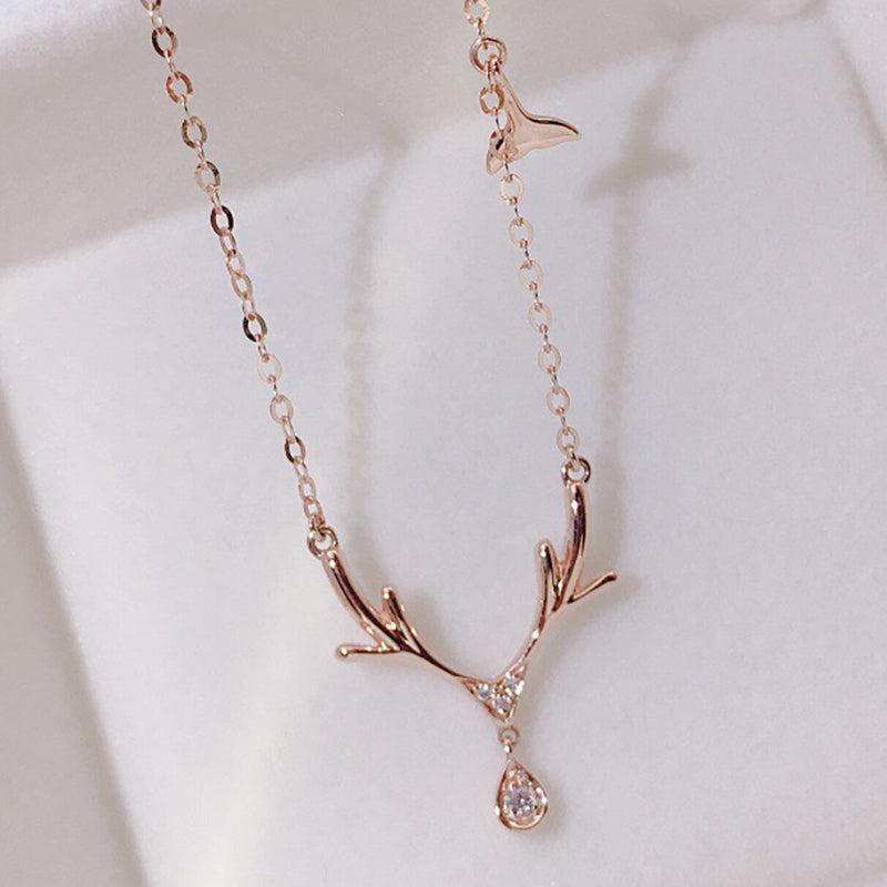 18K Gold 0.023ct Real Natural Diamond Elk & Whale Necklace