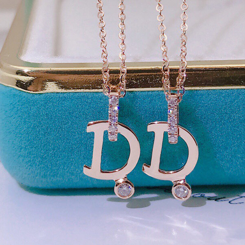 18K Gold 0.045 Carat Real Diamond Letter D Pendant Necklace