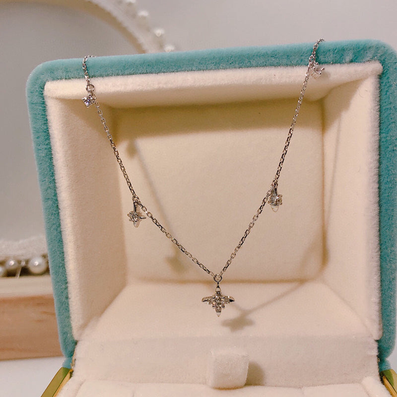 18K Gold 0.205ct Natural Diamond Star Necklace
