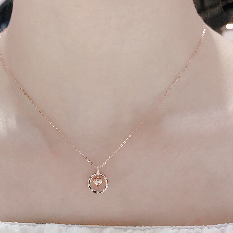 18k Gold 0.035 Carat Diamond Hanging Heart Pendant Necklace