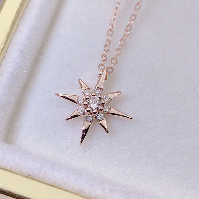 18K Gold 0.07ct Real Diamond Sun Halo Pendant Necklace