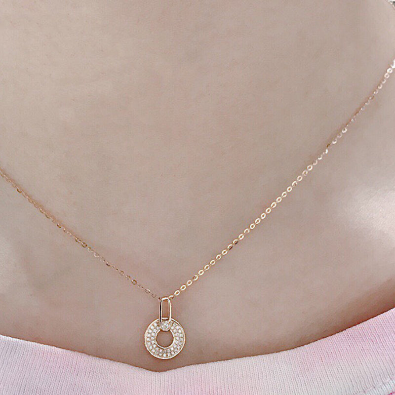 18K Gold 0.135ct Real Diamond Round Wheels Halo Pendant Necklace Color H, Clarity SI