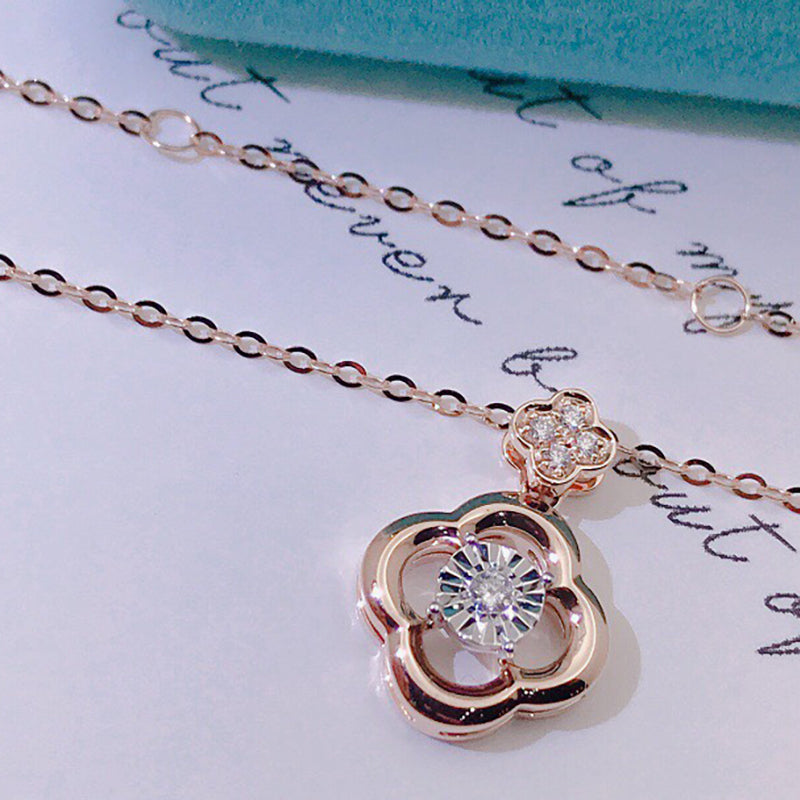 18K Gold 0.04ct Real Diamond Clover Dancing Pendant Necklace