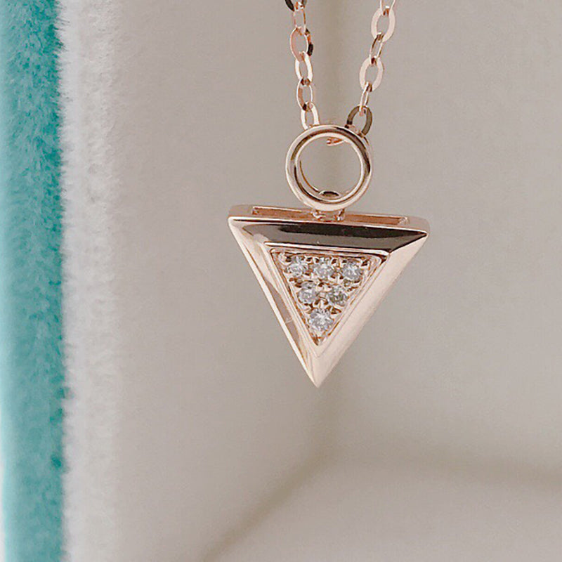 18K Gold 0.025ct Real Diamond Triangle Pendant Necklace