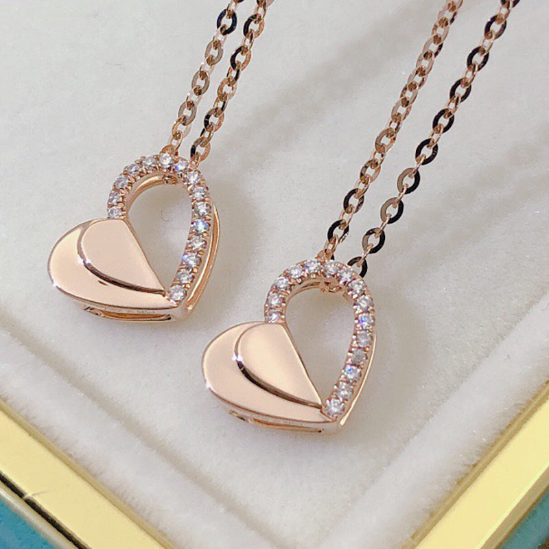 18K Gold 0.045ct Real Diamond Heart Shaped Necklace