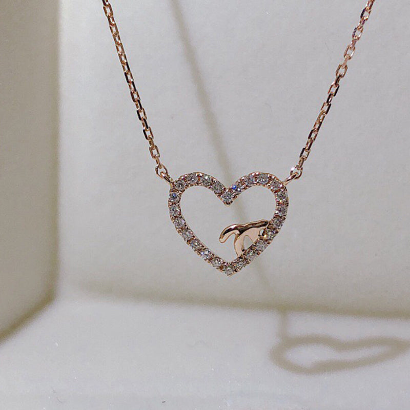 18K Gold 0.13ct Natural Full Diamond Fashion Heart Shaped Necklace