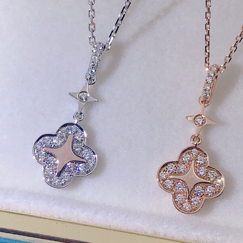18K Gold 0.195ct Real Diamond Fashion Clover Star Pendant Necklace Color H, Clarity SI