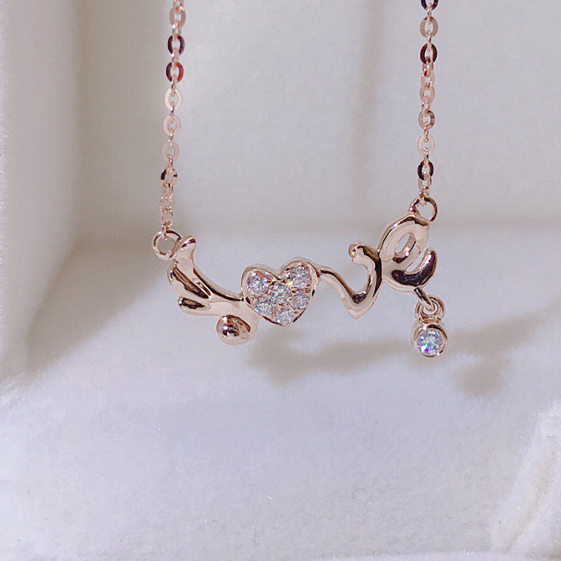 "18K Gold 0.065ct Real Diamond ""Love"" Heart Shaped Necklace"