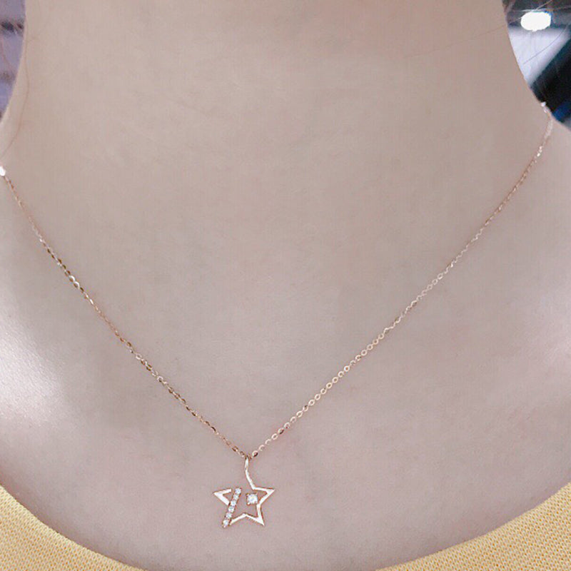 18K Gold 0.062ct Real Diamond Star Pendant Necklace