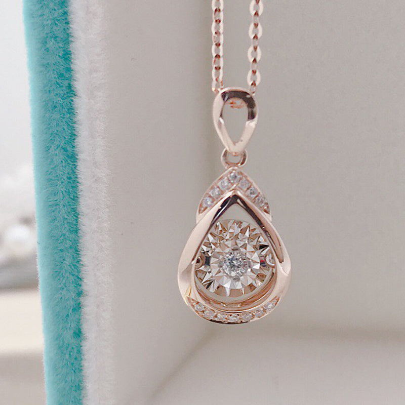 18K Gold 0.07ct Real Diamond Pear Shaped Fashion Dancing Pendant Necklace