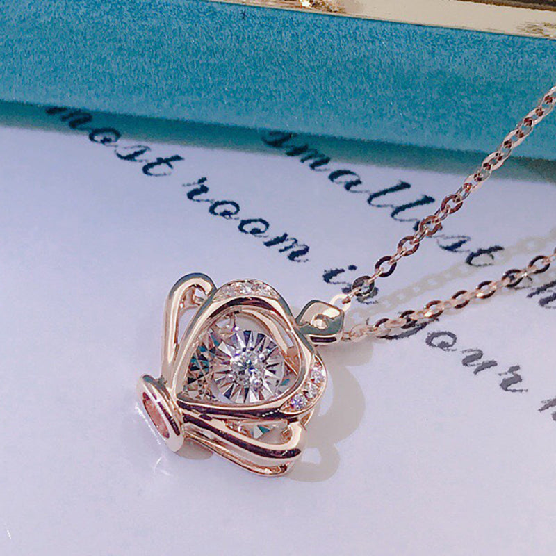 18K Gold 0.055ct Real Diamond Lovely Crown Dancing Pendant Necklace