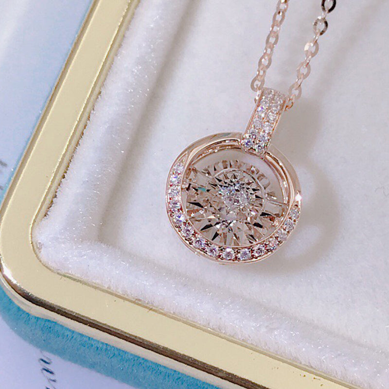 18K Gold 0.10ct Natural Diamond Halo Fashion Dancing Pendant Necklace