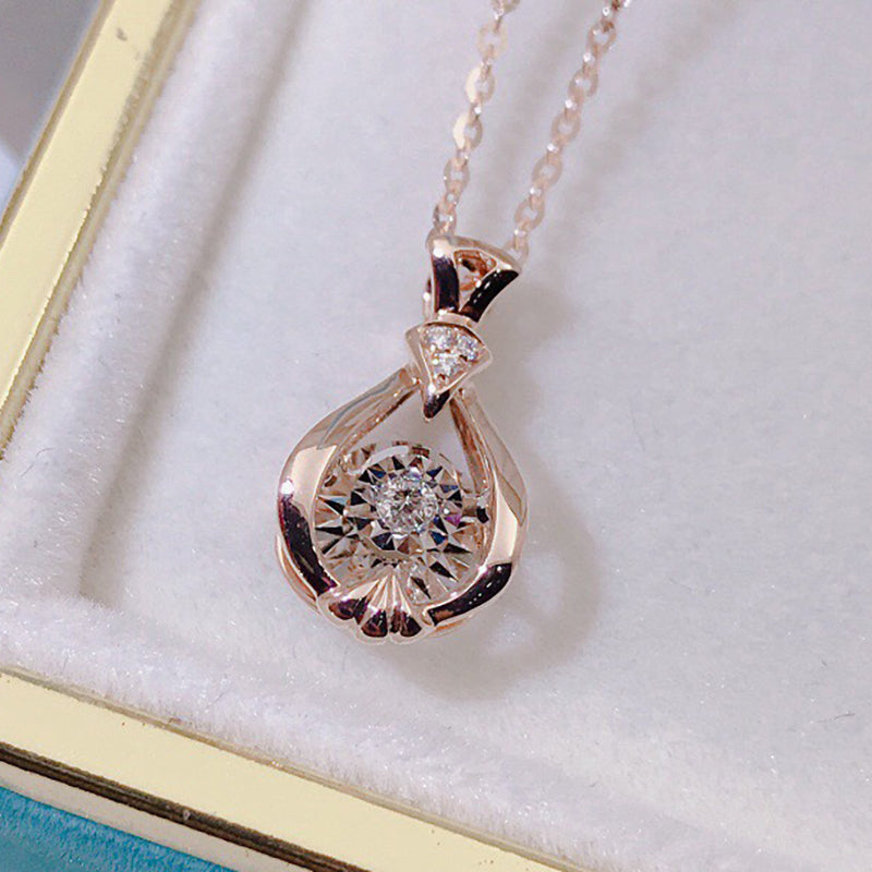 18K Gold 0.042ct Real Diamond Vase Shape Dancing Pendant Necklace