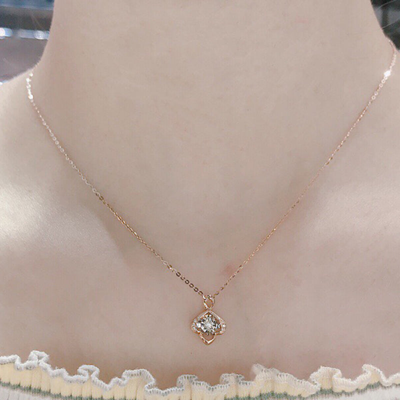 18K Gold 0.045ct Natural Diamond Fashion Dancing Pendant Necklace