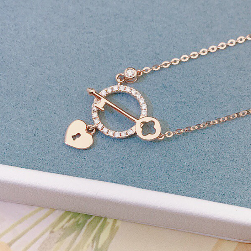 18K Gold 0.01ct Natural Diamond Key Heart-shaped Halo Necklace