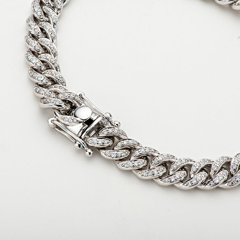 14K Solid White Gold Hip Hop Iced Out 1.46ct Natural Diamond Width 6.5mm 7In Miami Cuban Link Chain Bracelet for Men and Women
