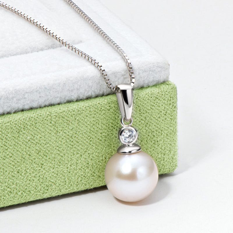 9-10mm Cultured Natural White Freshwater Pearl Pendant Necklace with Box Chain 18''