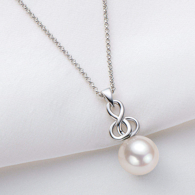 9-10mm Cultured Natural White Freshwater Pearl Pendant Necklace