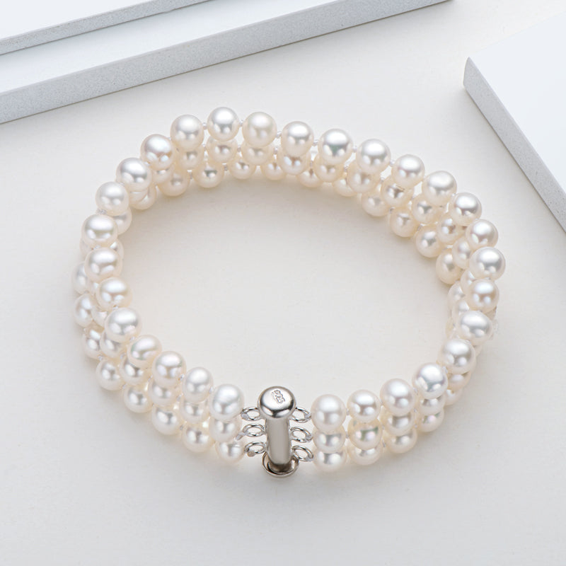 6-7mm Freshwater Cultured White Pearl Bracelet