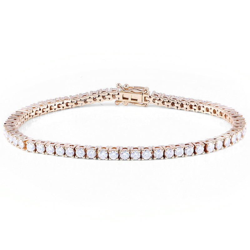 14K/18K Gold 2.5mm Round Cut 4.08cttw Moissanite Diamond Tennis Bracelet