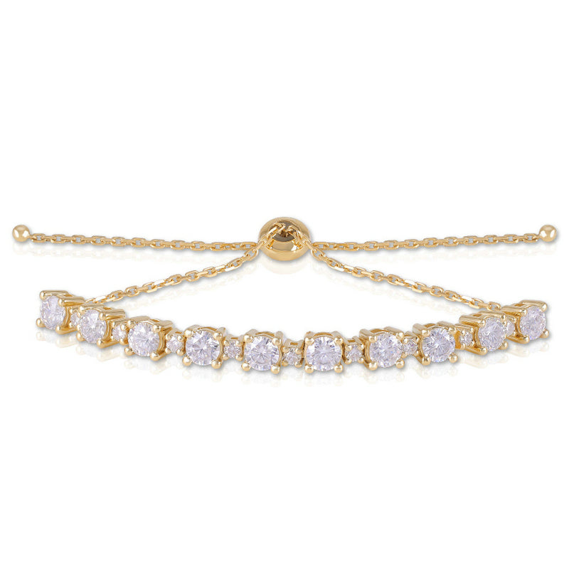 14K/18K Gold 3.27cttw Round Cut Color Grade D Moissanite Diamond Tennis Bracelet