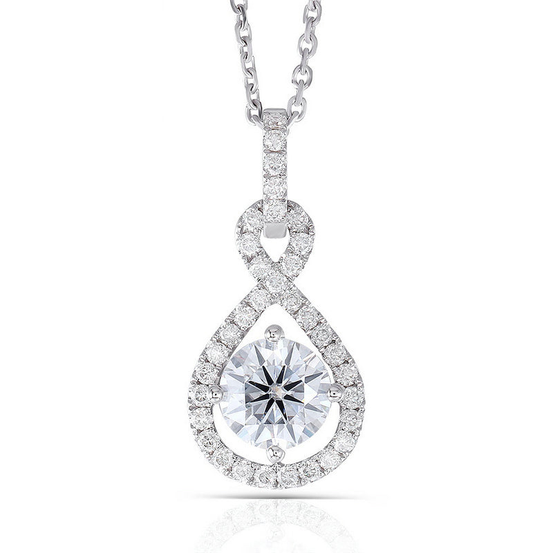 "14K/18K Gold 6.5mm Round Cut Moissanite Diamond Number ""8"" Halo Pendant Nacklace 18''"