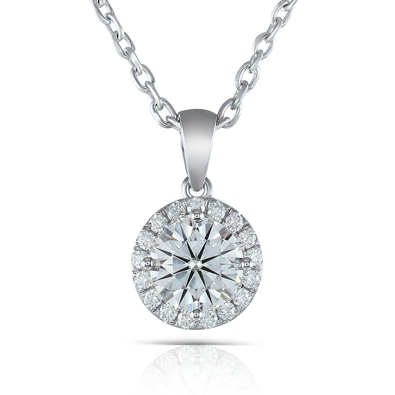 14K/18K Gold 1.0ct 6.5mm Round Cut Color Grade D Moissanite Diamond Halo Pendant Nacklace 18''