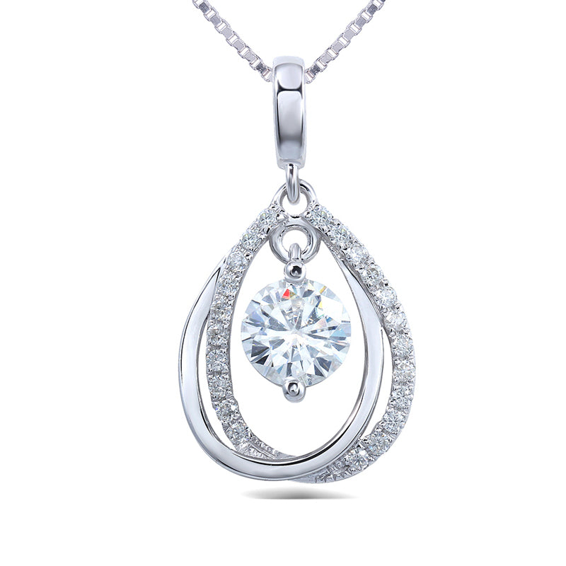 14K/18K Gold 5.0mm Round Cut Moissanite Diamond Dancing Drop Type Pendant Nacklace 18''