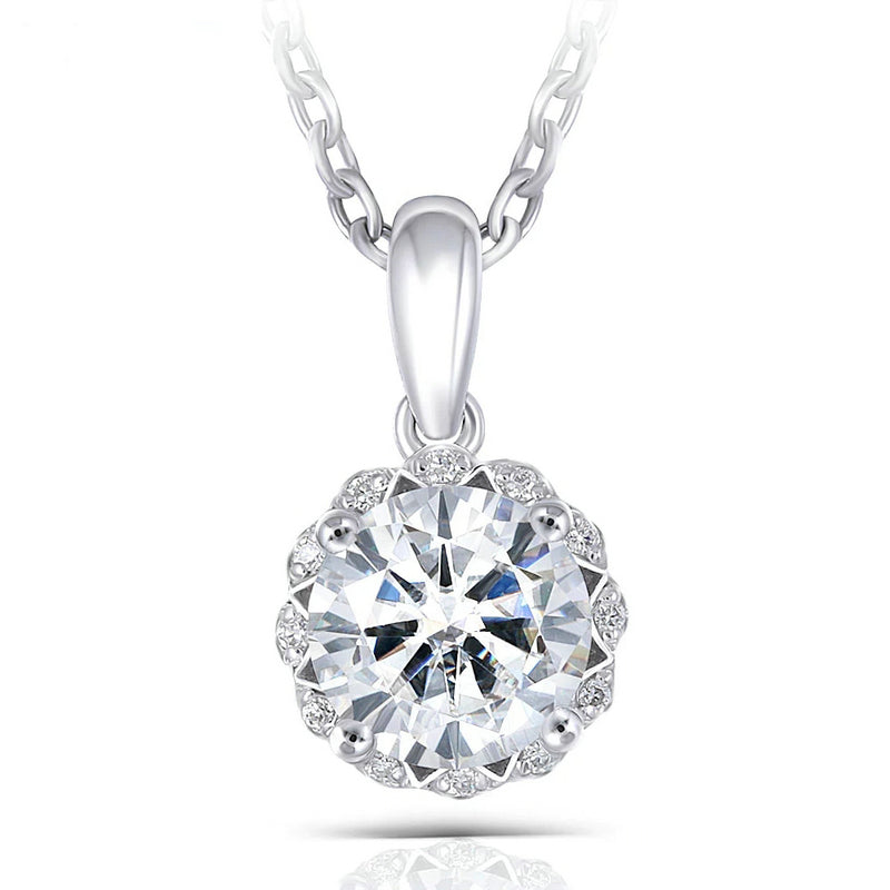14K/18K Gold 6.5mm Round Cut Moissanite Diamond Lace Halo Pendant Nacklace 18''