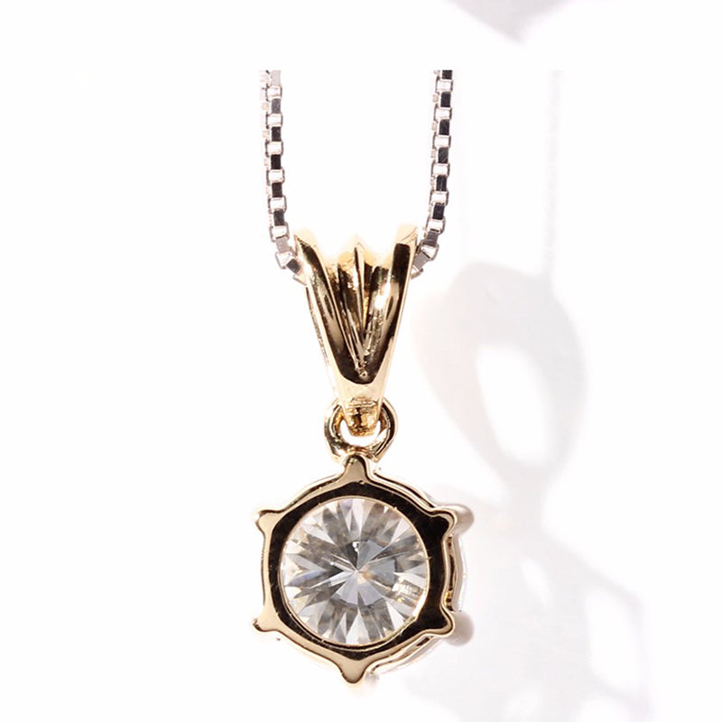 14K/18K Gold Round Cut 1ct Color Grade D Moissanite Diamond Six Prong Setting Pendant Nacklace 18''